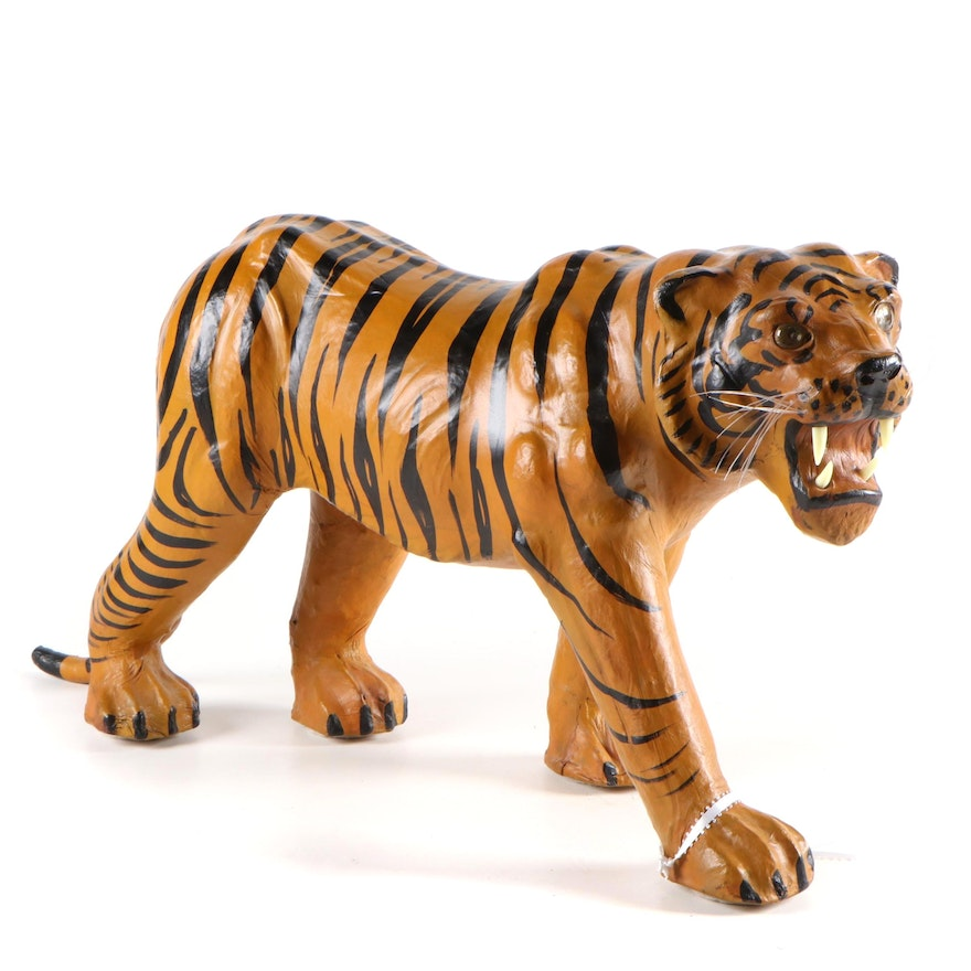 Artisan Molded Leather Painted Bengal Tiger Figurine