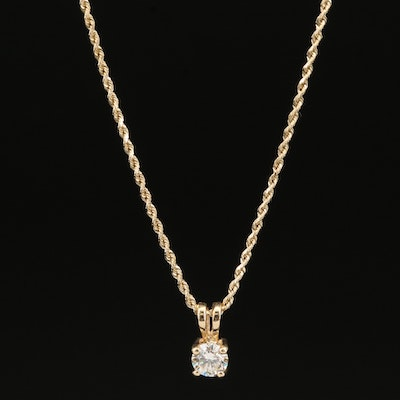 14K 0.56 CT Diamond Solitaire Necklace