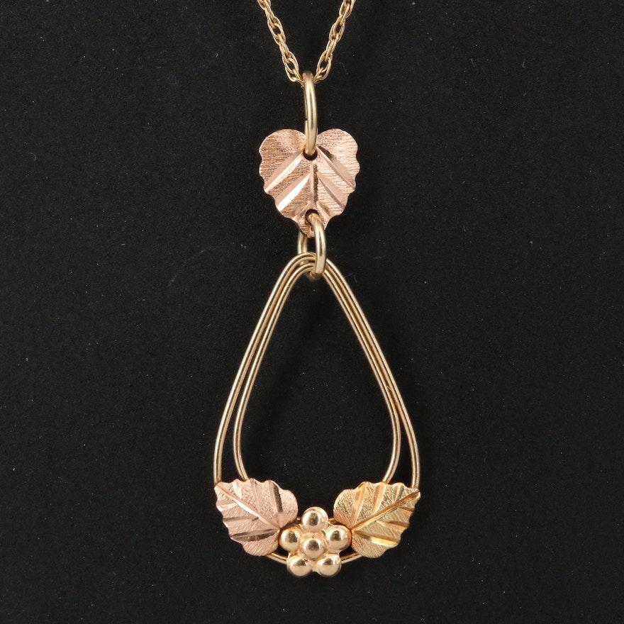 10K Floral Teardrop Pendant on 14K Chain
