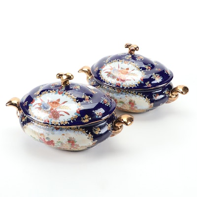 Hand-Painted Cobalt and Gilt Floral Motif Ceramic Soup Tureen