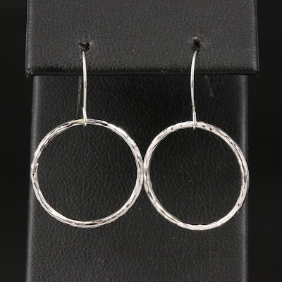 14K Textured Circle Dangle Earrings