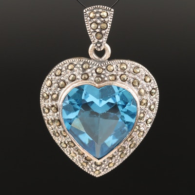 Sterling Blue Glass and Marcasite Heart Pendant