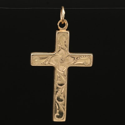 14K Cross Flower Pendant