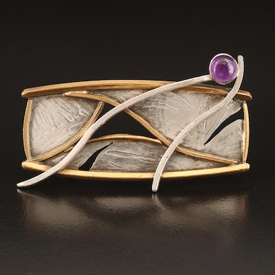 "Vintage Donna McAfee ""Bridges"" Sterling and Bronze Amethyst Brooch"