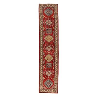 2'9 x 12'8 Hand-Knotted Afghan Kazak Carpet Runner, 2010s