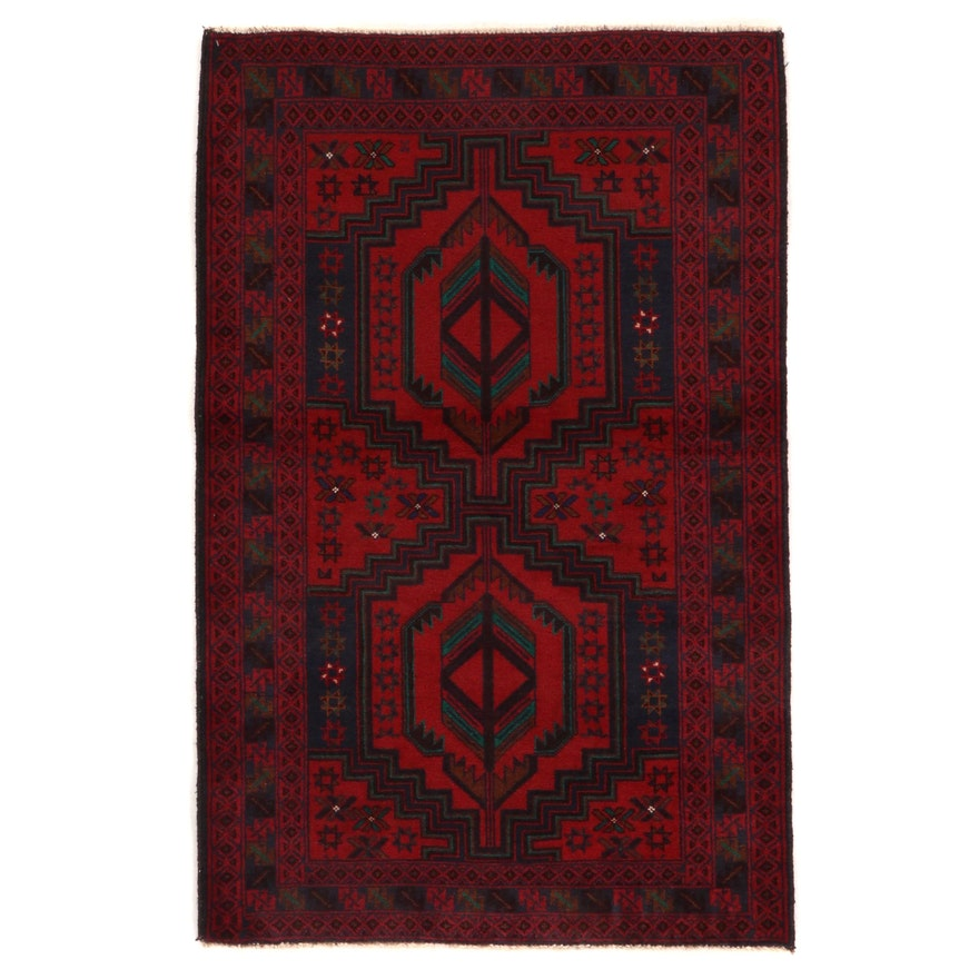 2'10 x 4'6 Hand-Knotted Afghan Baluch Wool Accent Rug