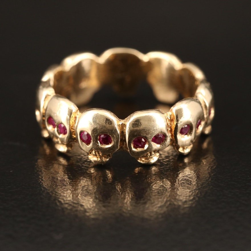 14K Skull Eternity Band with Ruby Eye Accents
