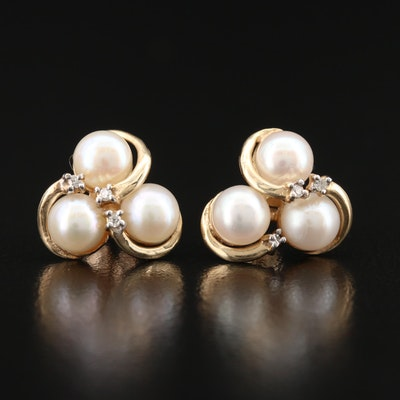 10K Pearl and Diamond Love Knot Earrings