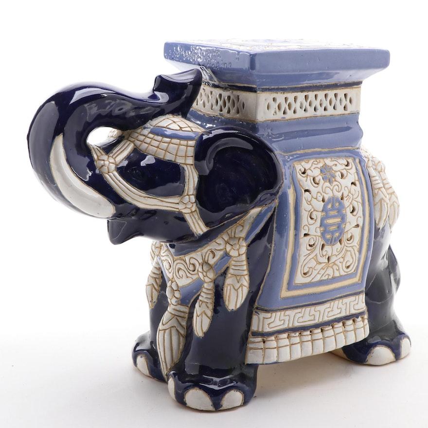 Glazed Earthenware Elephant Garden Seat