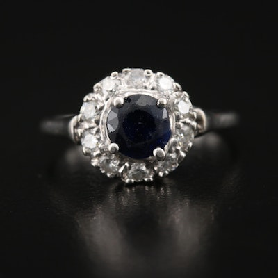 14K Sapphire and Diamond Halo Ring