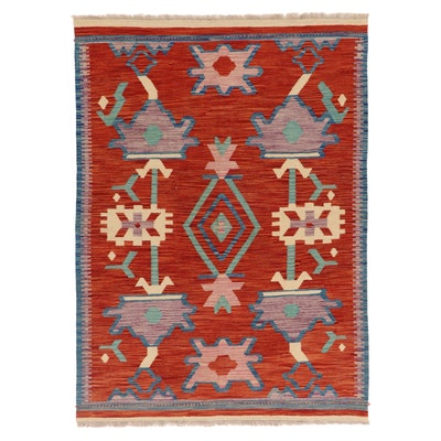 4'11 x 7'5 Handwoven Afghan Kilim Wool Area Rug