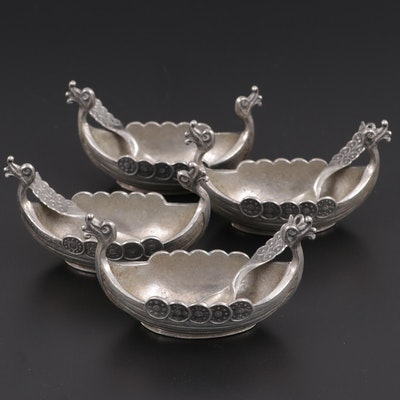 Norwegian Hand Cast Pewter Viking Boat Salt Cellars