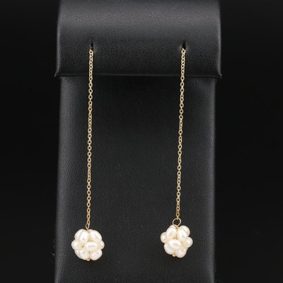 14K    Pearl Cluster Dangle Earrings