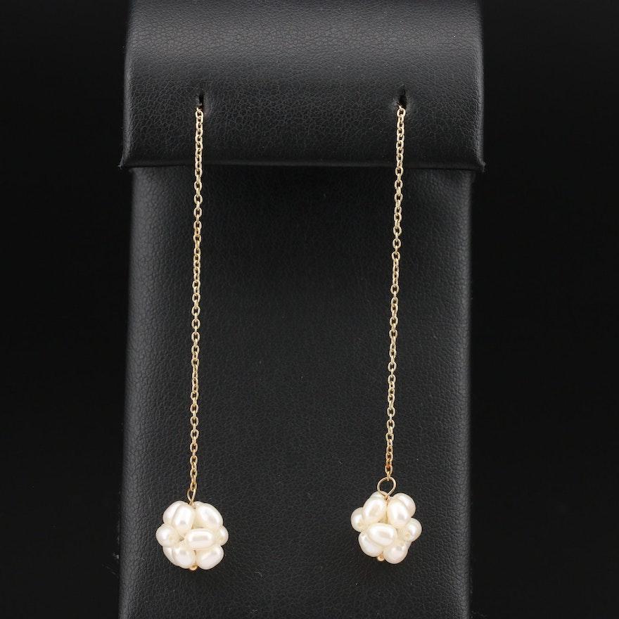 14K    Pearl Cluster Dangle Earrings