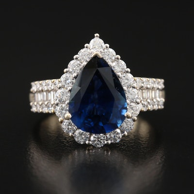 18K 3.66 CT Sapphire and 1.24 CTW Diamond Halo Ring