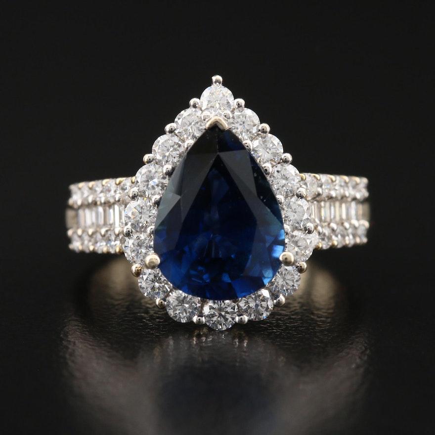18K 3.66 CT Sapphire and 1.24 CTW Diamond Halo Ring