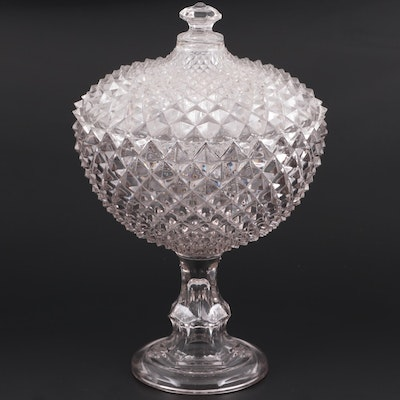 "EAPG  Gillinder and Sons ""Diamond"" Lidded Compote, Late 19th/ Early 20th C."