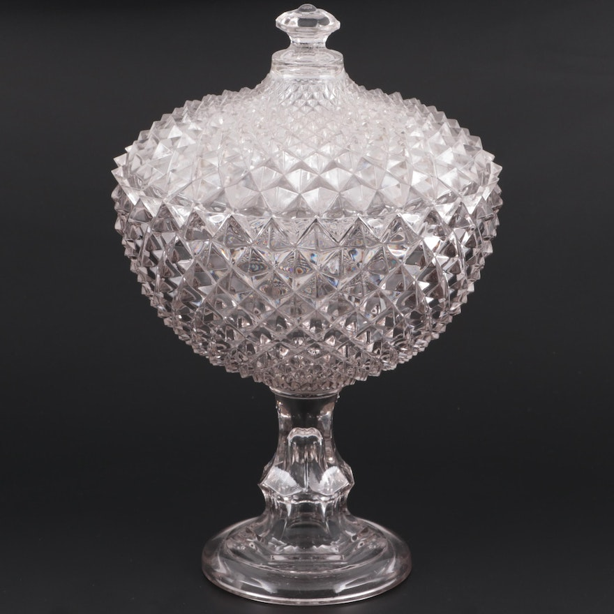 """EAPG  Gillinder and Sons """"Diamond"""" Lidded Compote, Late 19th/ Early 20th C."""