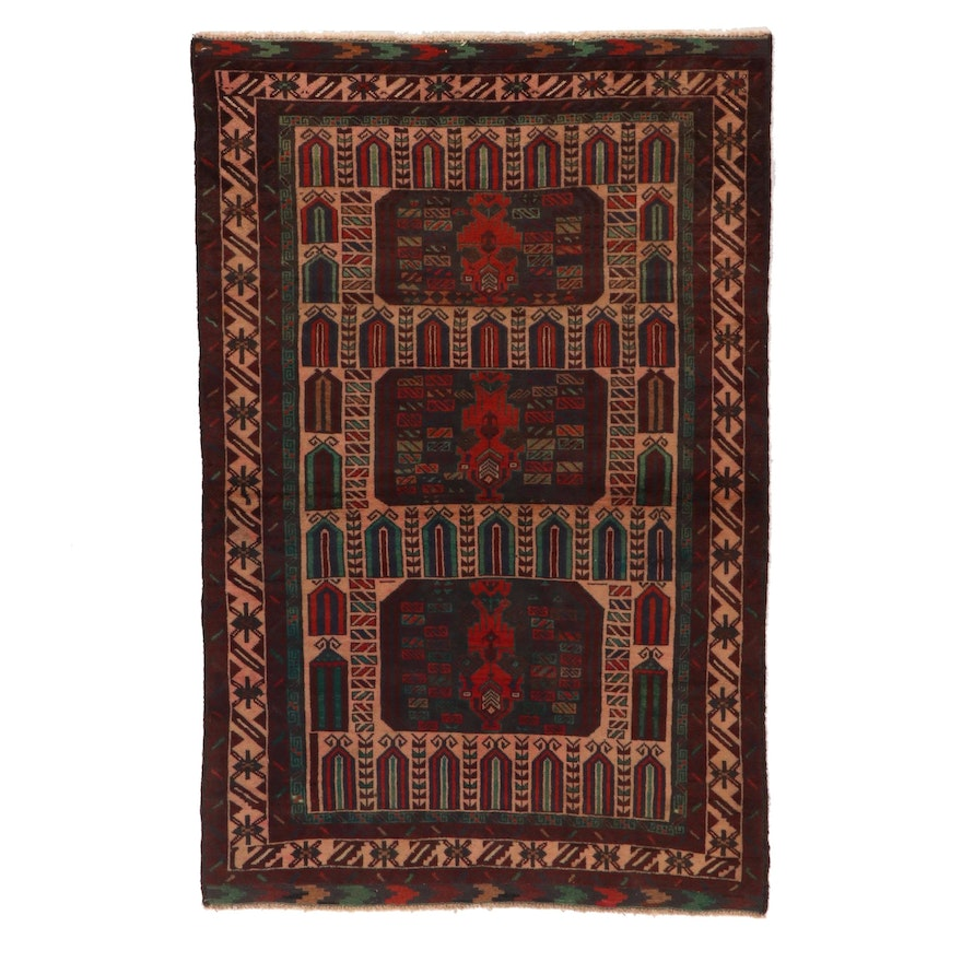 3'9 x 5'9 Hand-Knotted Afghan Tribal Baluch Wool Area Rug
