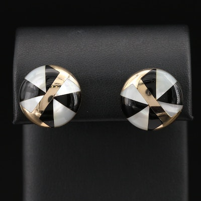 14K Black Onyx and Mother of Pearl Inlay Button Earrings