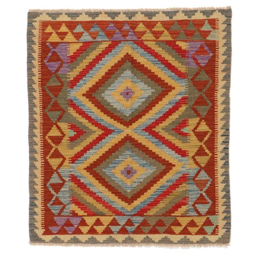 3' x 3'7 Handwoven Afghan Kilim Wool Accent Rug