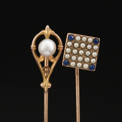 Antique 10K Pearl, Glass and Imitation Pearl Stick Pins