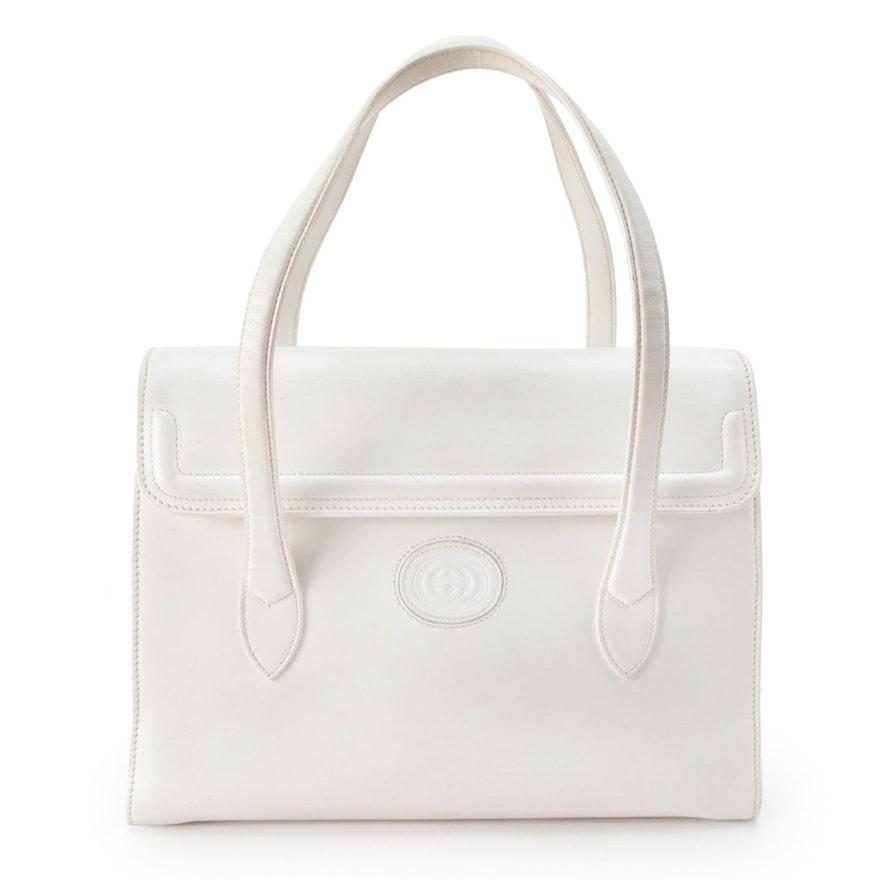 Gucci Interlocking G Logo Flap Front White Leather Satchel Bag