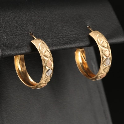 14K Tri-Color Diamond Cut Hoop Earrings