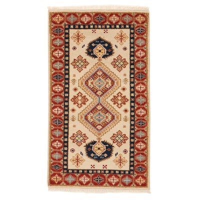 3' x 5'6 Hand-Knotted Indo-Caucasian Kazak Rug, 2010s
