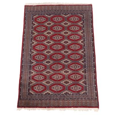 4'0 x 6'6 Hand-Knotted Pakistani Bokhara Wool Area Rug