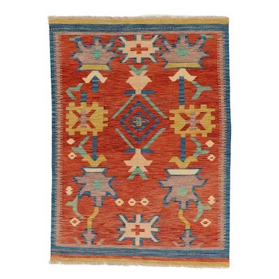 4'10 x 6'9 Handwoven Afghan Kilim Wool Area Rug