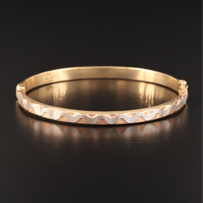 Italian 14K Tri-Color Textured Wave Hinged Bangle