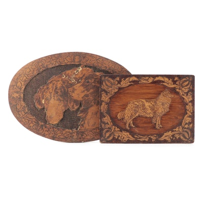 Flemish Art Co. Pyrography and Stained Wood Plaques with Dog Motif