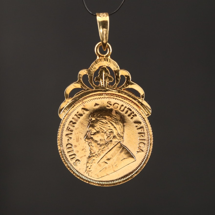 1983 South African Krugerrand Bullion Coin Pendant with 14K Bezel