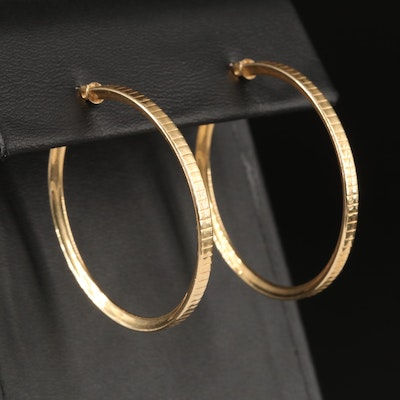 14K Reeded Edge Hoop Earrings