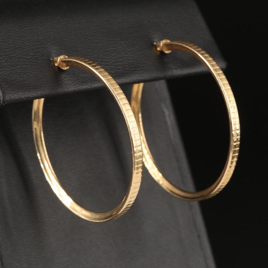 14K Reeded Edge Hoop Earrings