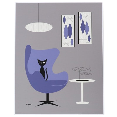 "Donna Mibus Giclée ""Mid Century Purple Egg Chair with Wire Fish,"" 21st Century"