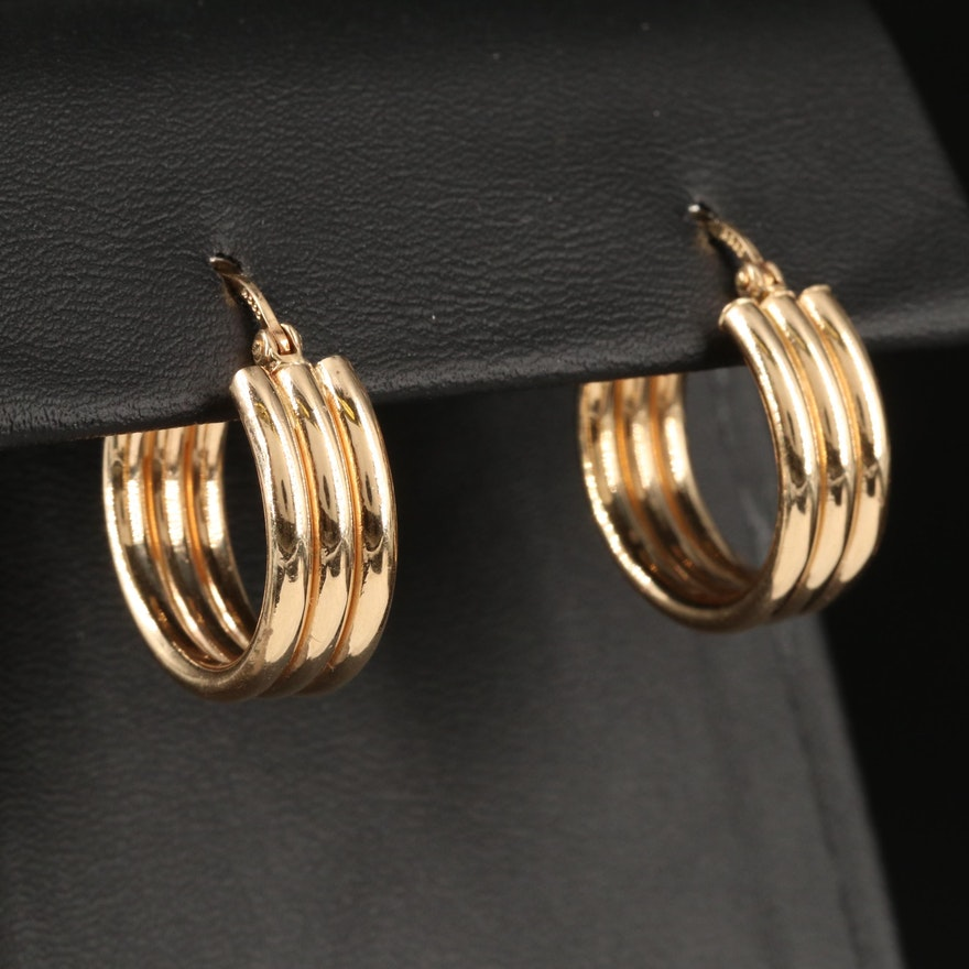 14K Stacked Triple Hoop Earrings