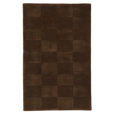 3'6 x 5'6 Hand-Knotted Indian Mid-Century Modern Style Carved Rug, 2000s