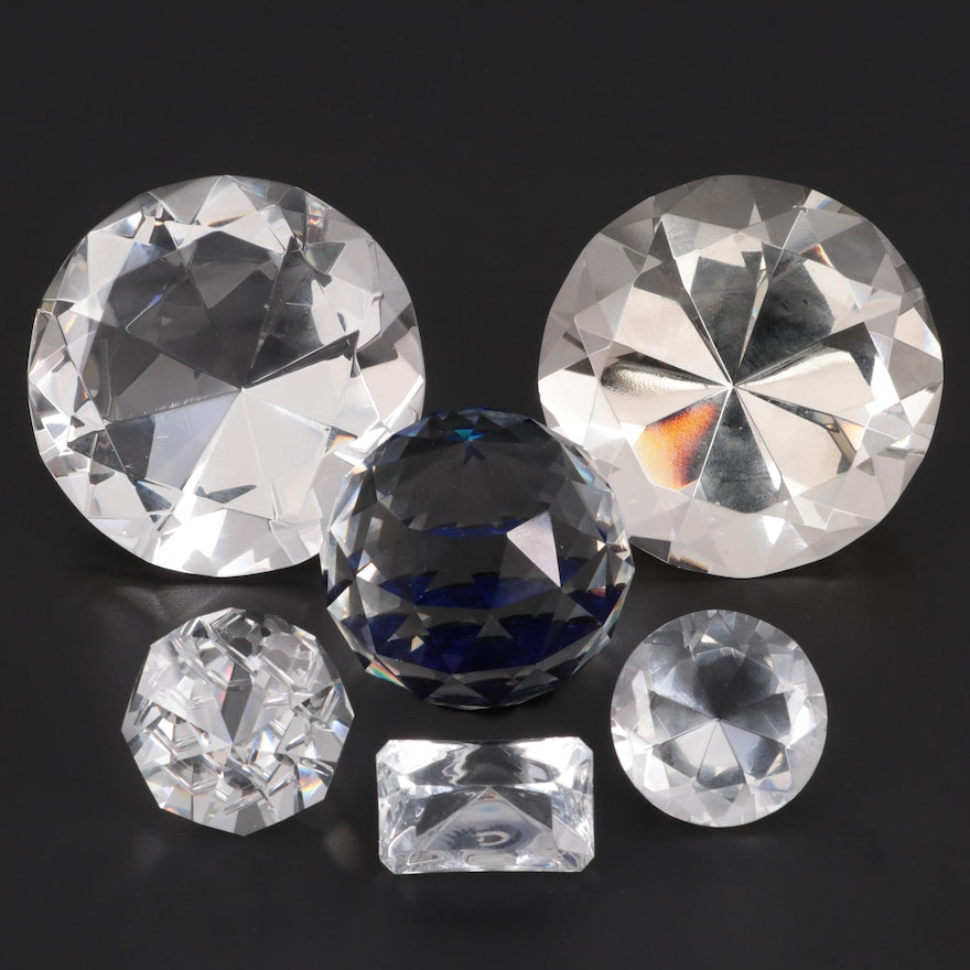 Swarovski Crystal Paperweight with Other Diamond Shaped Paperweights