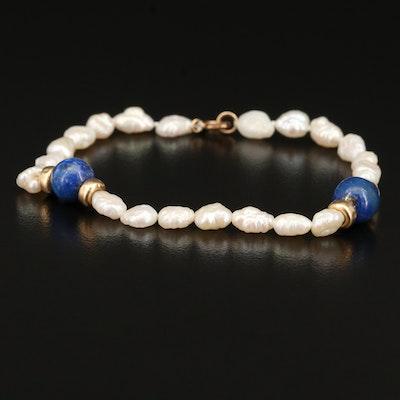14K Baroque Pearl and Lapis Lazuli Bracelet