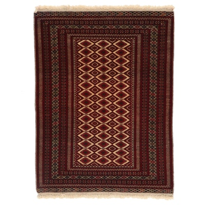 4' x 5'6 Hand-Knotted Afghan Turkmen Area Rug