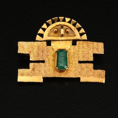 Incan Deity 18K Emerald Converter Brooch