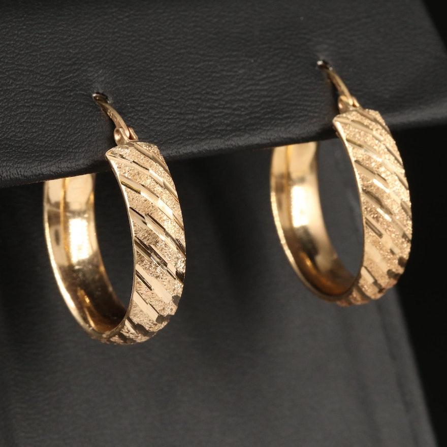 14K Diagonal Diamond Cut Hoop Earrings