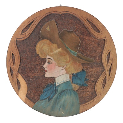 Flemish Art Co. Woman in Hat Form Pyrography Hanging Wall Décor