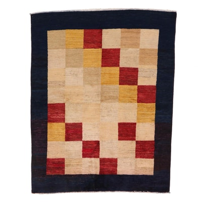 4'10 x 6'4 Hand-Knotted Afghan Gabbeh Wool Area Rug