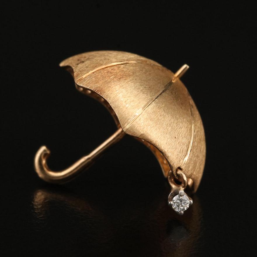 14K Diamond Umbrella Brooch with Palladium Setting