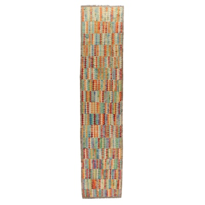 2'10 x 13'1 Handwoven Afghan Kilim Wool Carpet Runner