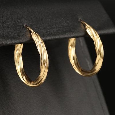 Italian 18K Twisted Hoop Earrings