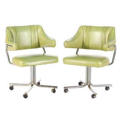 Stoneville Furniture Mid Century Modern Vinyl Upholstered Swivel Arm Chairs